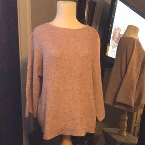 HM cotton sweater dusty pink gray flecks NWT